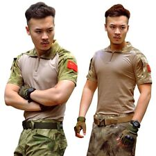 Men Army Combat Military Tactical Camouflage Short Sleeve T-Shirt Tee Shirt Tops