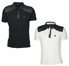 MENS POLO TSHIRT SHORT SLEEVE VOI JEANS IN WHITE & MOOD IRIS COLOURS RRP £29.99