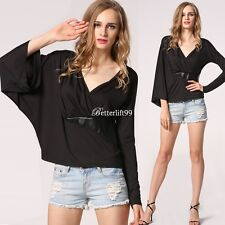 New Sexy Women Ladies V-Neck Irregular Long Sleeve Casual T Shirt Tops Blouse BF