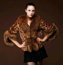 New Fashion Sexy Womens Leopard Warm Winter Faux Fox Fur Jacket Coat Outwear