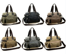 Hot Men Vintage Canvas Leather Hiking Travel Military Messenger Tote Bag