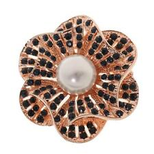 Vintage Brooch Gold Plated Alloy Pearl Brooch Rhinestone Flower Scarf Buckle Pin