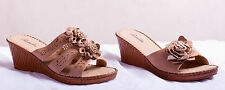 New Womens Wedge Open Toe Mule Slip On Floral Flowers Sandals Shoes Brown Size