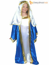 Girls Deluxe Mary Costume Childs Christmas Fancy Dress Kids Nativity Xmas Outfit
