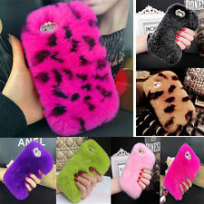 Luxury Crystal Bling Diamond Soft furry rabbit fur Phone case Cover for iPhone