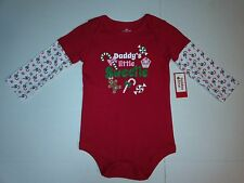 Baby Girl Red Long Sleeve Daddys Little Sweetie Bodysuit NB 0-3 18 Month NEW