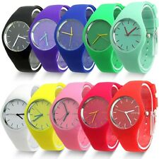 Fashion Soft Women girls Jelly Silicone Sports Watch pink purple red white green