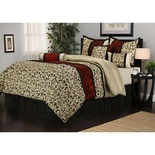 7pc red beige black floral jacquard comforter sham bedskirt bedding set