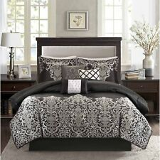high quality 7pc black and silver grey woven jacquard design comforter set