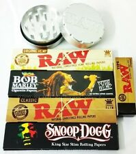 2 PART METAL GRINDER WITH RAW / SNOOP DOGG & BOB MARLEY PAPER & TIPS