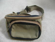 Tilley Endurables Brown Leather Olive Nylon Kangaroo Pouch Fanny Pack  EUC