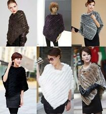 2016 New Womens Real Rabbit Fur Wrap Shawl Scarf Cape Poncho Scarf Outwear Vest