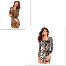 Womens Long Sleeve Bodycon Leopard Print Short Dress Formal Prom Party Dresses