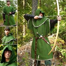 Huntingdon Green Over Tunic with Hood. Perfect For Re-enactment Stage & LARP