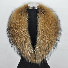 New Fashion Large Womens Real Genuine Raccoon Fur Collar Scarf/Shawl/Wrap Neck