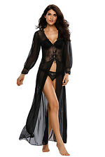 Women Sexy Lingerie Sheer Long Sleeve Babydoll Lace Robe with Thong Night Gown