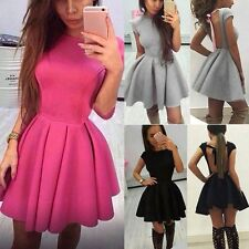 Women Short Sleeve Backless Skater Evening Party Cocktail Short Mini Puffy Dress