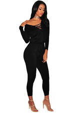 Black Grommet Lace Up Long Sleeve Club Wear Sexy Dancing Jumpsuit Women Rompers