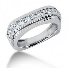 2.00CT Men's Wedding Band Ring with Princess Cut Diamonds in 14kt White Gold