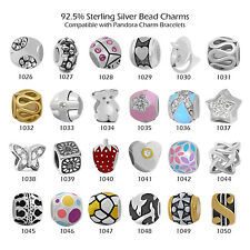 925 Sterling Silver Beads for European Charm Bracelet Necklace Theme-1050
