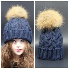 New Women Fur Winter Wool Knit Beanie Raccoon Fur Pom Bobble Hat Crochet Ski Cap
