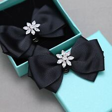 Ribbon Bow Crystal Wedding Bridal Flower Snowflake Winter Boots Shoe Clips Pair