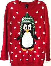 Womens Sweater Red Fuzzy Stitches on Penguin Snowballs Long Fit New Directions S