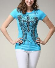 Sexy & Sinful Cross Patch Angel Wings Top Religion Shirt Rhinestones Crystal L