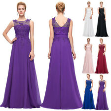 Womens Long Chiffon Evening Ball Party Gown Formal Lace Bridesmaid Prom Dress