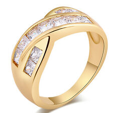 18K Gold Filled Charm Clear CZ Fashion Womens Infinite Band Ring Size 6 7 8 9