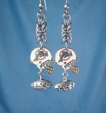 Miami Dolphins NFL Sports Earrings Football Charms Stainless Steel Chainmaille