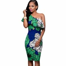 Women Knee-Length Dress Floral Print Frill One Shoulder Ruffle Sleeve Midi Dress