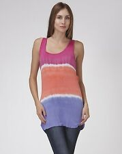 Sexy Tie Dye Scoop Neck Tank Top Striped Summer Beach Casual Pink Blue Shirt S L
