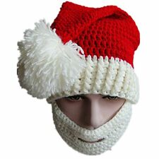 Christmas Winter Knitted Crochet Beanie Hat with Beard Foldaway Bearded Cap