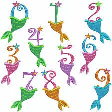 * MERMAID NUMBERS * Machine Embroidery Patterns * 10 Designs, 3 Sizes