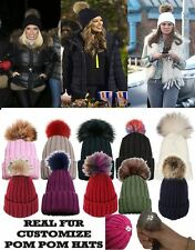 LADIES BIG COLOURED REAL FUR POM POM KNITTED CUSTOMIZABLE SKI BEANIE BOBBLE HAT