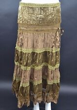 LADIES CRUSHED VELVET & COTTON BLACK/GOLD/PURPLE/BROWN GYPSY SKIRT SIZE 10 to14
