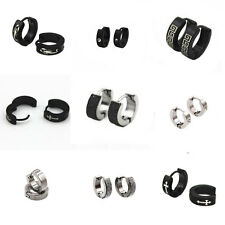 1 Pair Stainless Steel Mens Silver Black Huggie Hoop Earrings Hinged Earrings