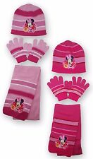 Girls Minnie Mouse Hat Gloves And Scarf 3PC Set One Size  2 to 8 Years 780-230