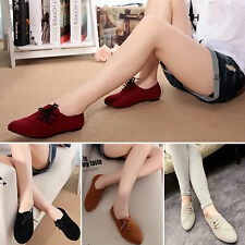 Womens Casual Leather Boat Shoes Girls School Ballet Flats Pump Lace Up Loafers