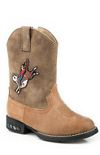 Roper Boots Infant Brown Faux Leather Light Up Bull Boys Cowboy