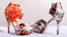 Stiletto Party High Heels Platform Ankle Strap Floral Flower Zip Sandals Size