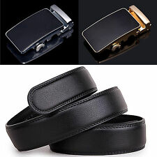 Men Automatic Black Genuine Leather Waist Strap Buckle Belts Luxury Waistband