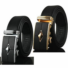 Men Black Genuine Leather Automatic Buckle Belts Waist Strap Belt Waistband New
