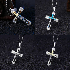 Unisex's Men Women's Stainless Steel Cross Pendant Necklace Chain Jewelry Gift