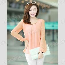 Fashion New Womens Loose Chiffon Blouse Tops Lady Korean Long Sleeve Casual Tee