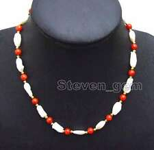 Big 12-15mm Baroque White Strip Natural pearl & Red Coral 17'' Necklace-nec6131