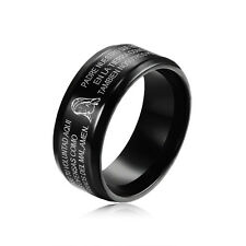 Black Ink Stainless Steel Titanium Couple Mens Womens Rings Size 7 8 9 10 11