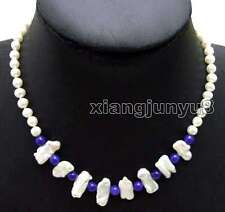 6-7mm White Round pearl and 12*15mm Biwa Pearl & Blue Jade 17'' Necklace-nec6127
