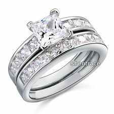 STERLING SILVER Square CZ Engagement Wedding Ring Set Size 5 6 7 8 9 J L N P R T